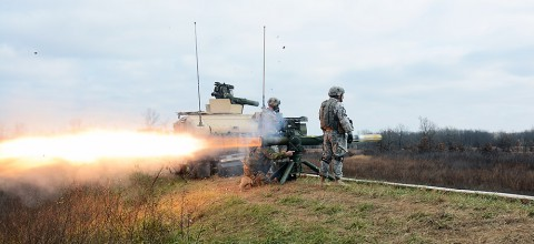 "A special forces weapons sergeant with 5th Special Forces Group (Airborne), fires a BGM-71 Tube-launched, Optically-tracked, Wire-guided, or TOW, missile, during a partnered training exercise with Soldiers from 1st Battalion, 327th Infantry Regiment, 1st Brigade Combat Team ""Bastogne,"" 101st Airborne Division (Air Assault), Dec. 9, 2014. (U.S. Army photo by Maj. Kamil Sztalkoper, 5th SFG(A) Public Affairs)"