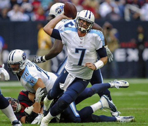 Tennessee Titans quarterback Zach Mettenberger (7) attempts a pass while under pressure during the first quarter against the Houston Texans at NRG Stadium. (Troy Taormina - USA TODAY Sports)
