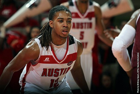 Austin Peay guard Jeremy Purvis hits late 3 to hold off Troy Monday night. (APSU Sports Information)