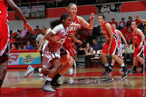 Austin Peay junior guard Tiasha Gray gets 12 points, 12 assists and 10 rebounds against Saint Louis. (APSU Sports Information)