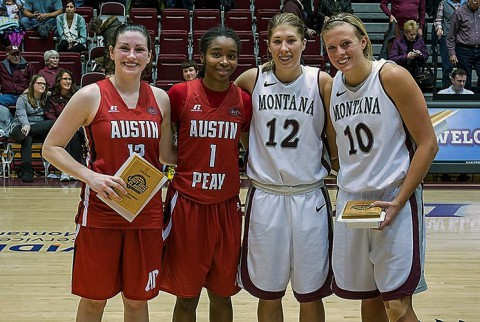 (L to R) Ausitn Peay freshman Madison Rich and junior Tiasha Gray were named to the Lady Griz Holiday Classic all-tournament team. (APSU Sports Information)