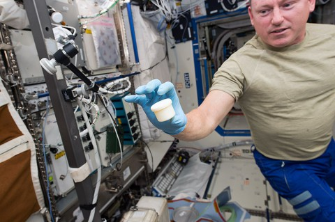 "International Space Station astronaut Barry ""Butch"" Wilmore holds a science sample container that took two hours to make. The container was the first object to be printed with two parts: a lid and a container. NASA wants to make science equipment in space, rather than launching it. (NASA)"