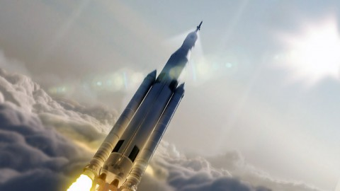 Artist concept of NASA's Space Launch System (SLS) 70-metric-ton configuration launching to space. (NASA/MSFC)