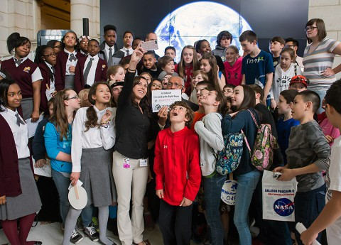 NASA Administrator Charles Bolden poses for a quick selfie with students who attended the NASA-sponsored Earth Day event. (NASA/Aubrey Gemignani)