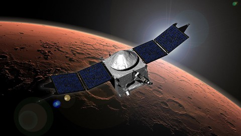 NASA's Mars Atmosphere and Volatile Evolution (MAVEN) spacecraft artist concept. (NASA's Goddard Space Flight Center)