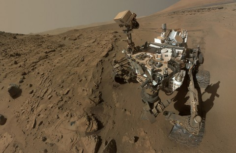 "Curiosity component images combined into a self-portrait at drilling target ""Windjana."" (NASA/JPL-Caltech/MSSS)"