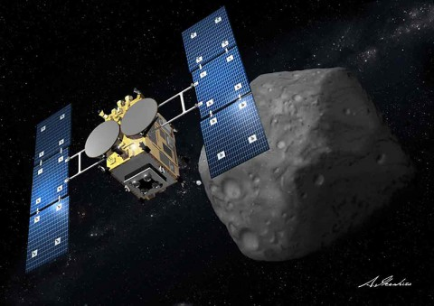 """Asteroid Explorer """"Hayabusa2"""" is a successor of """"Hayabusa"""" (MUSES-C), which revealed several new technologies and returned to Earth in June 2010. (JAXA and Akihiro Ikeshita)"""