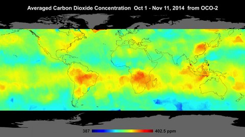 Global atmospheric carbon dioxide concentrations from Oct. 1 through Nov. 11, as recorded by NASA's Orbiting Carbon Observatory-2. (NASA/JPL-Caltech)