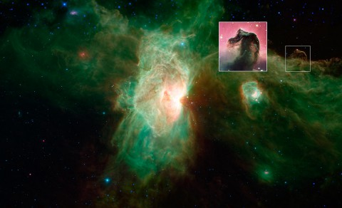 The famous Horsehead nebula of visible-light images (inset) looks quite different when viewed in infrared light, as seen in this newly released image from NASA's Spitzer Space Telescope. (NASA/JPL-Caltech/ESO)