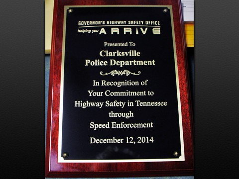 Clarksville Police Department receives Speed Enforcement Award.