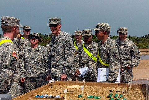 Maj. Gen. Gary Volesky, center, commander of Joint Forces Command – United Assistance and the 101st Airborne Division (Air Assault), surveys a sand table of Camp Buchanan, Liberia, while visiting Soldiers of the 129th Combat Sustainment Support Battalion, Jan. 23, 2015, Buchanan, Liberia. Soldiers of the 129th CSS Battalion help operate the USDA inspection point, ensuring all vehicles and equipment headed back to the U.S. meet customs standards. (Spc. Caitlyn Byrne, 27th Public Affairs Detachment)