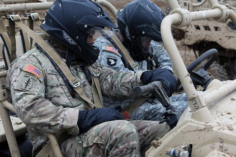 Soldiers from 1st Brigade Combat Team, 101st Airborne Division receive training on all-terrain vehicles from 5th Special Forces Group Jan. 12 on Fort Campbell. The training concluded a five-part combined training exercise between the two units. (Spc. Robert Venegas, 5th SFG(A) Combat Camera)