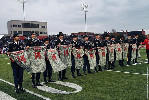 Austin Peay athletic department auctioned off camouflage jerseys to raise money for the Wounded Warrior Project. (APSU Sports Information)