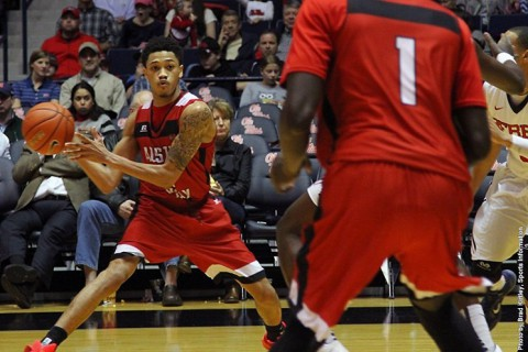 Austin Peay junior guard Khalil Davis scored 18 of his game-high 20 points in the second half at Old Miss. (APSU Sports Information)