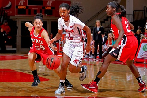 Austin Peay junior guard Tiasha Gray finished with 18 points, 11 rebounds, 4 assists and 4 steals for her second straight double-double. (APSU Sports Information)