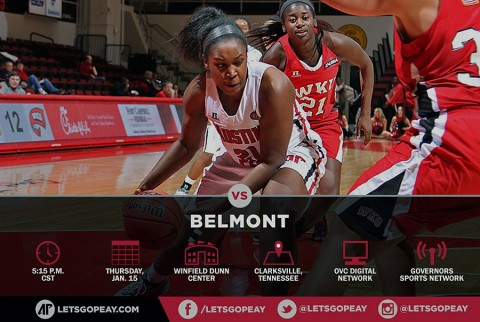 Austin Peay Lady Govs Basketball face Belmont at Dunn Center Thursday.