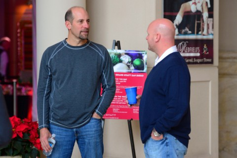 Former Atlanta Braves pitcher John Smoltz (left) during MLB Winter Meetings at Manchester Grand Hyatt. (Jake Roth-USA TODAY Sports)
