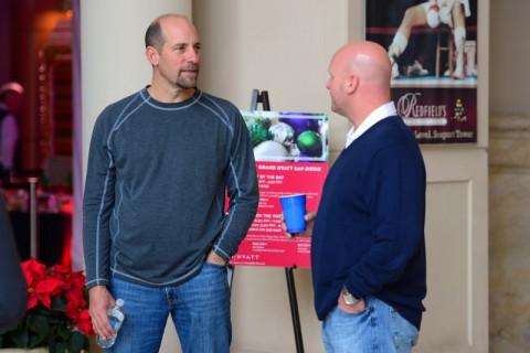 Former Atlanta Braves pitcher John Smoltz (left) during MLB Winter Meetings at Manchester Grand Hyatt. (Jake Roth-USA TODAY Sports)