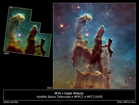 "Astronomers using NASA's Hubble Space Telescope have assembled a bigger and sharper photograph of the iconic Eagle Nebula's ""Pillars of Creation"".  (NASA/ESA/Hubble Heritage Team (STScI/AURA)/J. Hester, P. Scowen (Arizona State U.))"