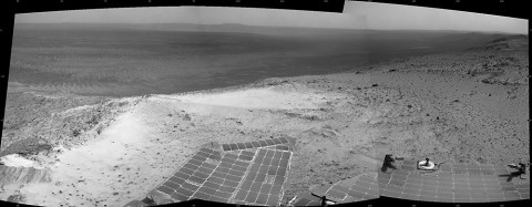 "NASA's Mars Exploration Rover Opportunity recorded this view of the summit of ""Cape Tribulation,"" on the western rim of Endeavour Crater on the day before the rover drove to the top. This crest is about 440 feet higher in elevation than the plain surrounding the crater. (NASA/JPL-Caltech)"