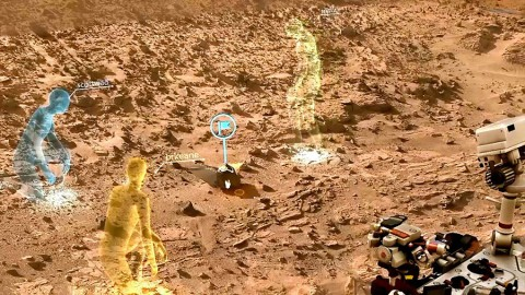 "A screen view from OnSight, a software tool developed by NASA's Jet Propulsion Laboratory in collaboration with Microsoft. OnSight uses real rover data to create a 3-D simulation of the Martian environment where mission scientists can ""meet"" to discuss rover operations. (NASA/JPL-Caltech)"