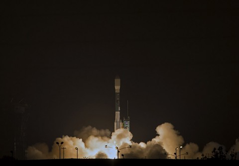 NASA's Soil Moisture Active Passive (SMAP) observatory lifts off from Space Launch Complex 2 West at California's Vandenberg Air Force Base, beginning a three-year mission to map Earth's vital moisture hidden in the soils beneath our feet. (NASA/Bill Ingalls)