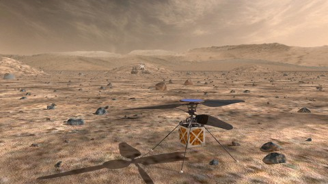 A proposed helicopter could triple the distances that Mars rovers can drive in a Martian day and help pinpoint interesting targets for study. (NASA)