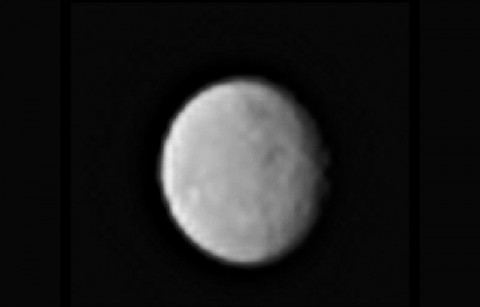 This processed image, taken Jan. 13, 2015, shows the dwarf planet Ceres as seen from the Dawn spacecraft. The image hints at craters on the surface of Ceres. Dawn's framing camera took this image at 238,000 miles (383,000 kilometers) from Ceres. (NASA/JPL-Caltech/UCLA/MPS/DLR/IDA)