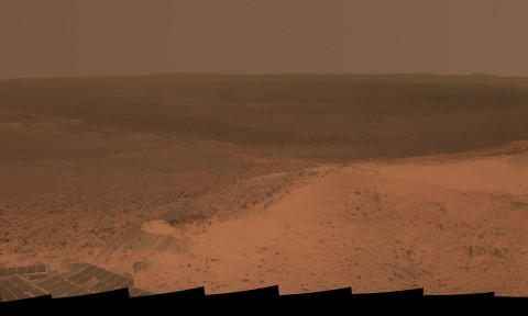 "This panorama is the view NASA's Mars Exploration Rover Opportunity gained from the top of the ""Cape Tribulation"" segment of the rim of Endeavour Crater. (NASA/JPL-Caltech/Cornell Univ./Arizona State Univ.)"