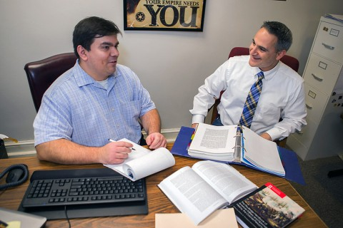 (L to R) Dr. Antonio Thompson and Dr. Christos Frentzos. (APSU Student Assistant Taylor Slifko)