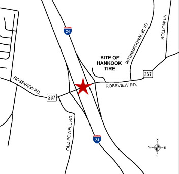 Tennessee Department of Transportation Rossview Road/Exit 8 Construction map.