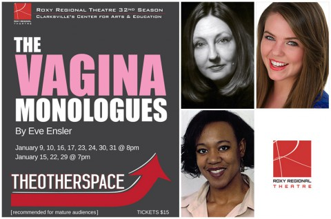 """Roxy Regional Theatre's production of """"The Vagina Monologues"""" stars (Top L to R) Leslie Greene, Kristina Wilson and Adriane Wiley-Hatfield."""