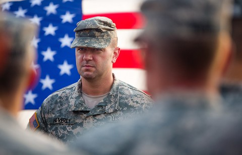 Maj. Brian Heverly, provost marshal for the 101st Airborne Division (Air Assault) gets promoted to lieutenant colonel. (Spc. Rashene Mincy, 55th Signal Company (Combat Camera))