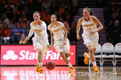 Alexa Middleton #33 of the Tennessee Lady Volunteers, Nia Moore #1 of the Tennessee Lady Volunteers and Kortney Dunbar #13 of the Tennessee Lady Volunteers during the SEC game between the Tennessee Lady Volunteers and the Texas A&M Aggies at Thompson-Boling Arena. (Donald Page/Tennessee Athletics)