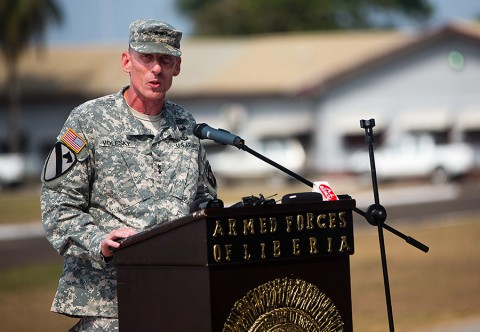Maj. Gen. Gary Volesky, commander of Joint Forces Command – United Assistance and the 101st Airborne Division (Air Assault), gives a speech during the 101st's color casing ceremony held at the Barclay Training Center Monrovia, Liberia, Feb. 26, 2015. (Spc. Rashene Mincy, 55th Signal Company (Combat Camera))