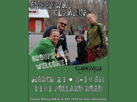 Clarksville Greenway community clean-up to be held March 21st.