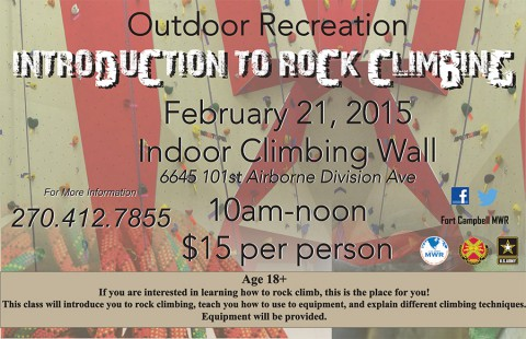 Outdoor Recreation's Introduction to Rock Climbing Class to be held February 21st.