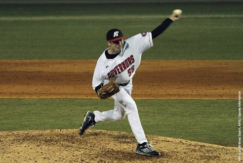 Austin Peay relief pitcher John Sparks picks up the win Friday against Niagara. (APSU Sports Information)