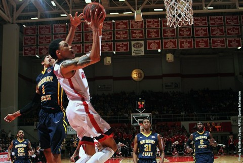 Austin Peay's Khalil Davis scored 23 points and grabbed 11 rebounds in loss to Murray State. (APSU Sports Information)