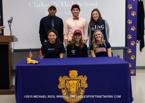 Clarksville High School has six sign letters of intnet on National Signing Day. (Top L to R) Dennis Merriweather, Mason Gasaway and Abby Anderson. (Bot L to R) Justis Bailey, Autumn Copeland and Ella Baggett.