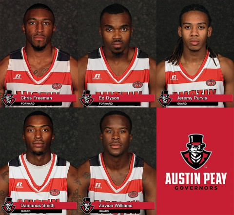 Austin Peay Basketball Seniors Chris Freeman, Ed Dyson, Jeremy Purvis and Damarius Smith along with junior Zavion Williams play their final game as a Governor, Thursday. (APSU Sports Information)