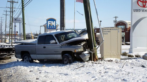 Dodge Truck struck a utility pole on Wilma Rudolph Boulevard. (CPD Officer Coz Minetos)