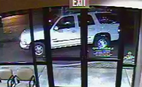 The suspects were driving a white GMC Yukon or a Chevrolet Tahoe.