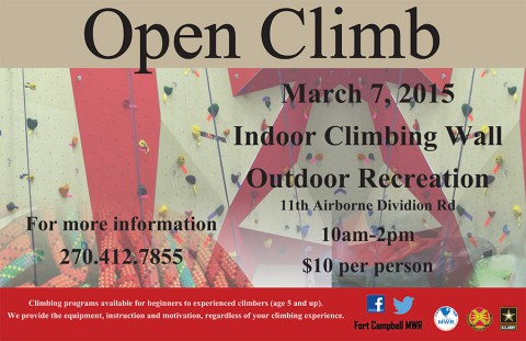 Fort Campbell Outdoor Recreation Indoor Climbing Wall Open Climb, March 7th