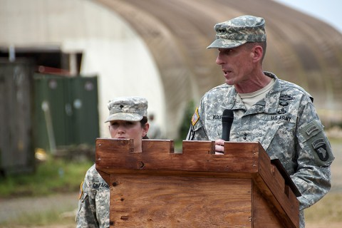 Maj. Gen. Gary Volesky makes open remarks during 86th Combat Support Hospital's color casing ceremony at the National Police Training Academy, Paynesville, Liberia, Feb. 12, 2015. The 86th CSH, deployed as Task Force Eagle Medic in support of Operation United Assistance, will head back to Fort Campbell, KY. (Sgt. 1st Class Nathan Hoskins, 101st Airborne Division Public Affairs)
