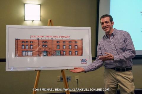 Matt Cunningham gave a presentation at the Hilton Garden Inn showing the plans for Old Glory Distillery, Friday.
