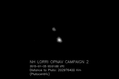 The image of Pluto and its moon Charon, taken by NASA's New Horizons spacecraft, was magnified four times to make the objects more visible. Over the next several months, the apparent sizes of Pluto and Charon, as well as the separation between them, will continue to expand in the images. (NASA/JHU APL/SwRI)