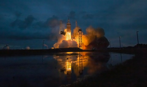 The United Launch Alliance Delta IV Heavy rocket with NASA's Orion spacecraft mounted atop, lifts off from Cape Canaveral Air Force Station's Space Launch Complex 37 at at 7:05am EST, Friday, Dec. 5, 2014, in Florida. (NASA/Bill Ingalls)
