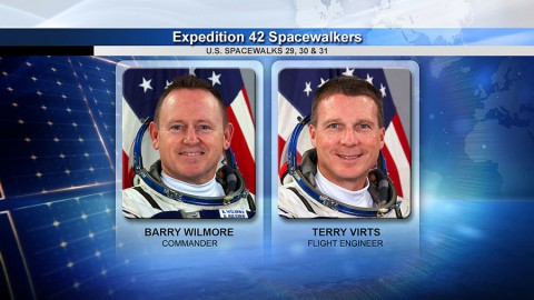 Spacewalkers Barry Wilmore and Terry Virts. (NASA TV)