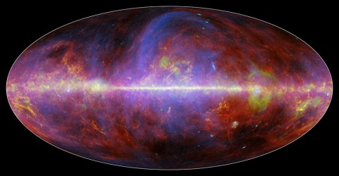 A festive portrait of our Milky Way galaxy shows a mishmash of gas, charged particles and several types of dust. The composite image comes from the European Space Agency's Planck mission, in which NASA plays an important role. It is constructed from observations made at microwave and millimeter wavelengths of light, which are longer than what we see with our eyes.